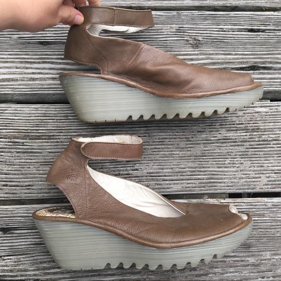 271f9a1d Fly London Shoes   Yala Brown Peep Toe Wedge Sandal Shoe   Poshmark